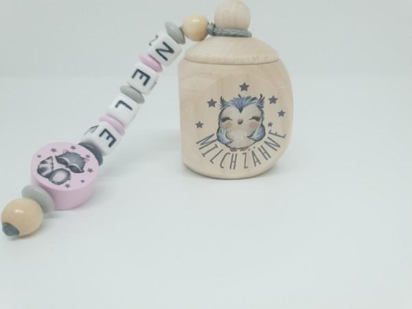 Milchzahndose mit Namen - Waldtiere rosa grau