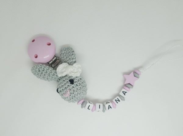 Schnullerkette mit Namen - 3D Hase Stern in grau rosa