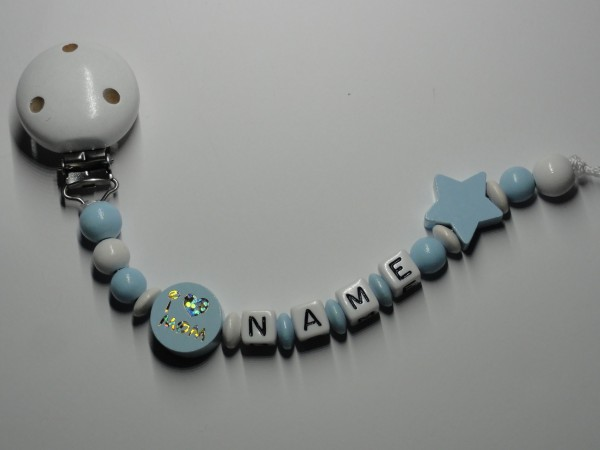 Baby Schnullerkette mit Namen - I love Mom in blau