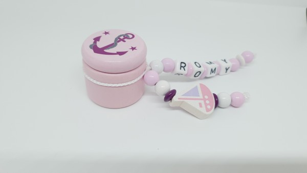 Milchzahndose mit Namen - Anker Schiff in rosa