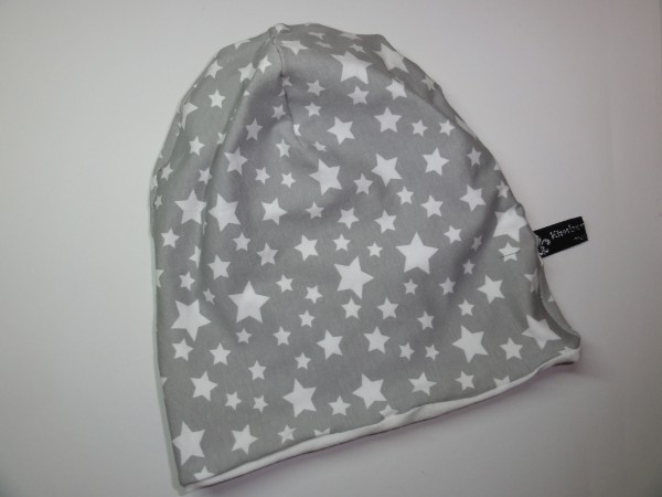 Beanie Mütze - Sterne in grau