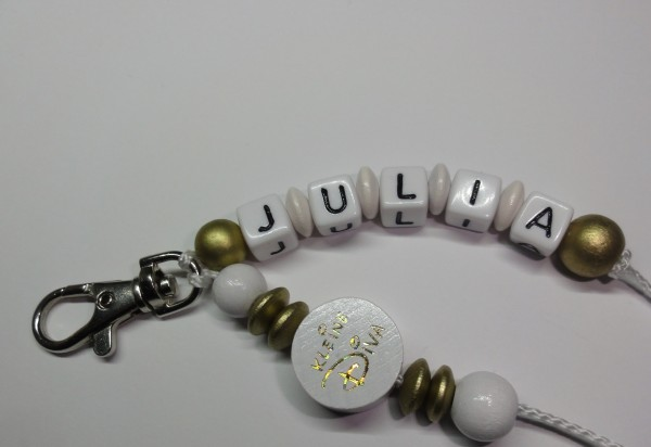 Schlüsselanhänger mit Namen - kleine Diva in gold weiß