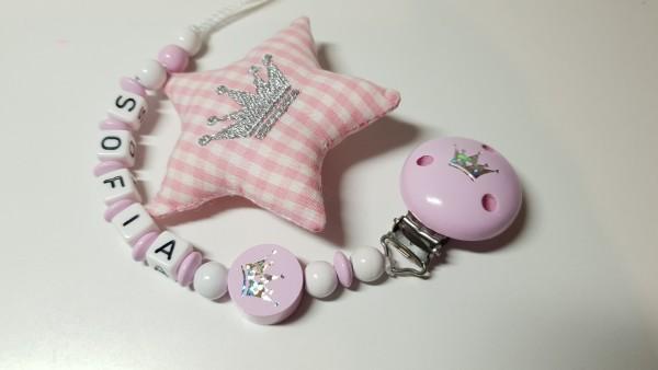 Baby Schnullerkette mit Namen - Krone in rosa weiß
