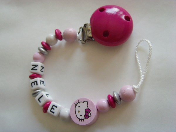 Baby Schnullerkette mit Namen - Hello Kitty in rosa pink