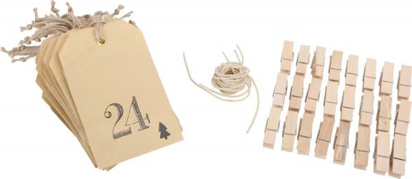 Adventskalender - 24 Tüten - individuell befüllbar - inkl. Klammern