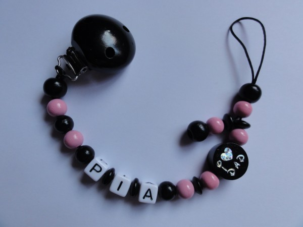 Baby Schnullerkette mit Namen - I love Mom in schwarz rosa