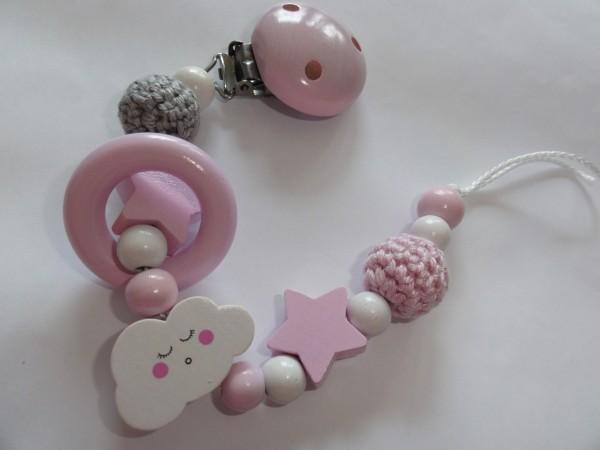 Baby Schnullerkette ohne Namen - Wolke Sterne Häkelperle in rosa