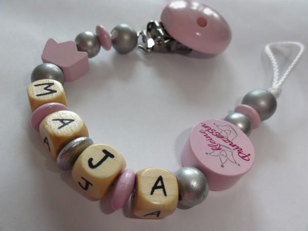 Baby Schnullerkette mit Namen - Krone kleine Prinzessin in rosa silber