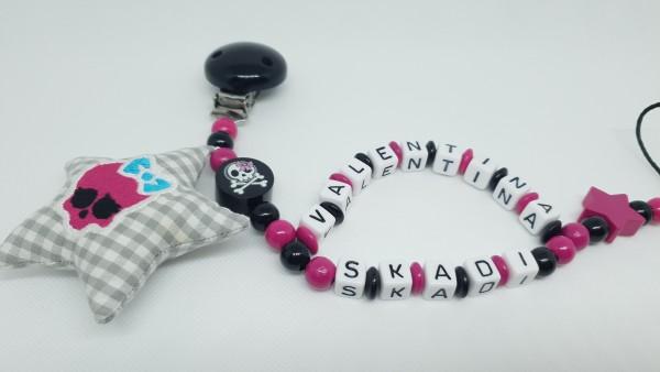 Baby Schnullerkette mit Namen - Totenkopf in schwarz pink
