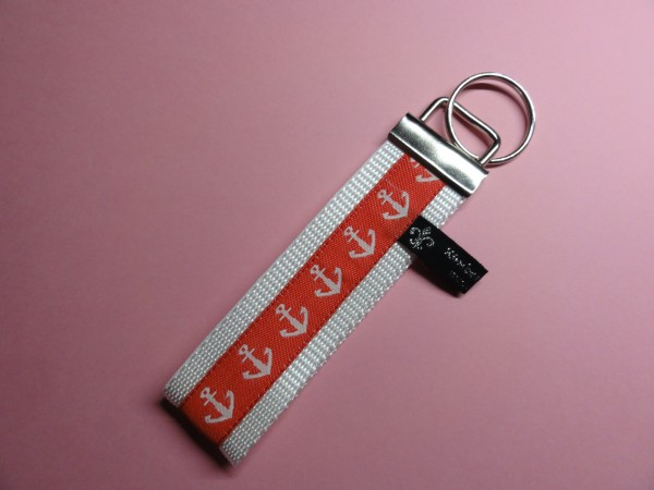 Schlüsselanhänger - Anker in weiß rot