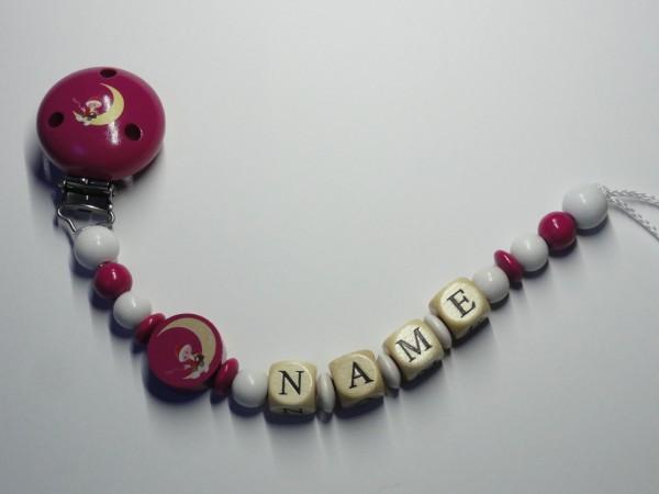 Baby Schnullerkette mit Namen - Sandmann in pink
