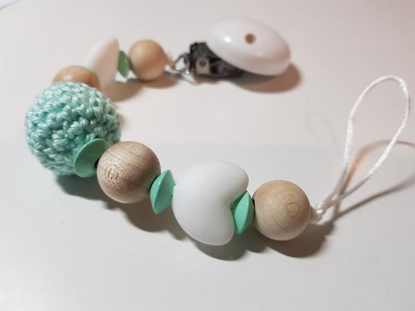 Schnullerkette ohne Namen - Silikon Häkelperle in natur weiß mint