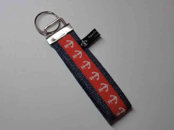 Schlüsselanhänger - Anker in Jeansblau