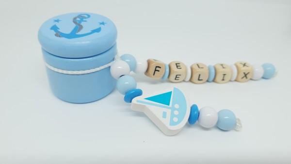 Milchzahndose mit Namen - Anker Schiff in blau