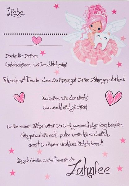 Mein Brief von der Zahnfee Mädchen