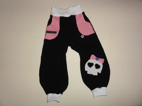 Baby Pumphose - Totenkopf in schwarz rosa