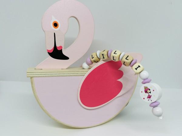 Holz Spardose mit Namen - Flamingo