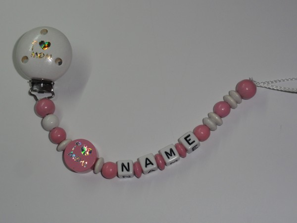 Baby Schnullerkette mit Namen - I love Mom in rosa