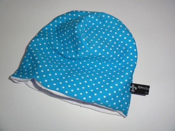 Beanie Mütze - Punkte in blau