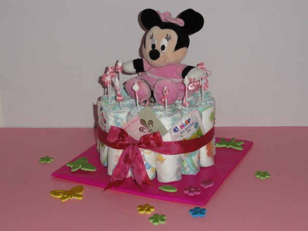 Windeltorte - Minnie Maus in rosa