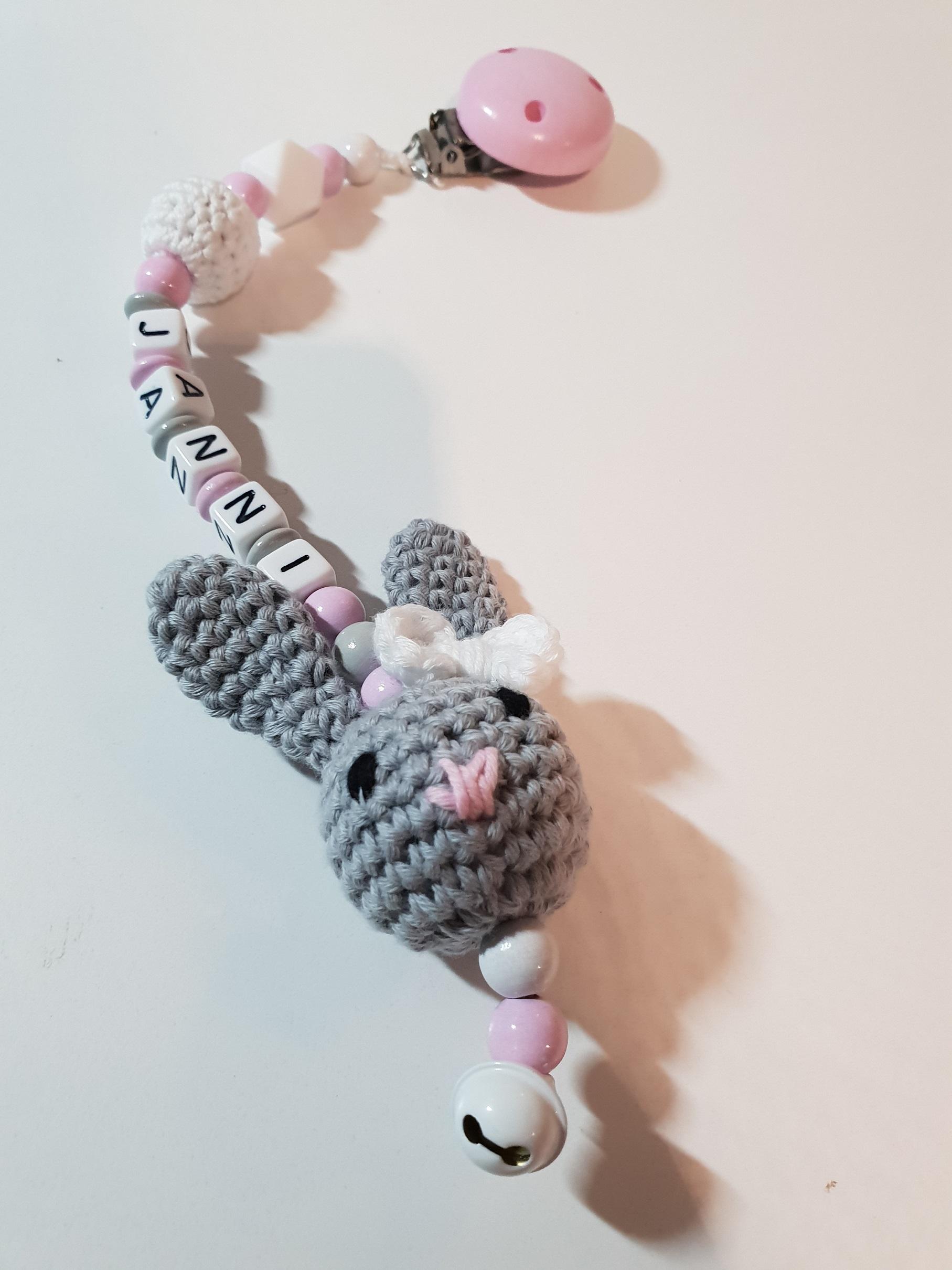 3D Hase Silikon Häkelperle in rosa weiß Kinderwagenanhänger mit Namen