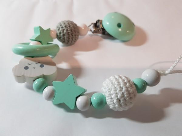 Baby Schnullerkette ohne Namen - Wolke Sterne Häkelperle in mint