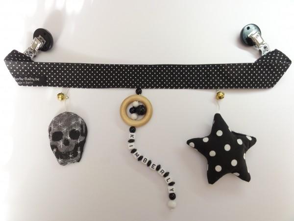 Kinderwagenkette mit Namen - Totenkopf Stern in schwarz