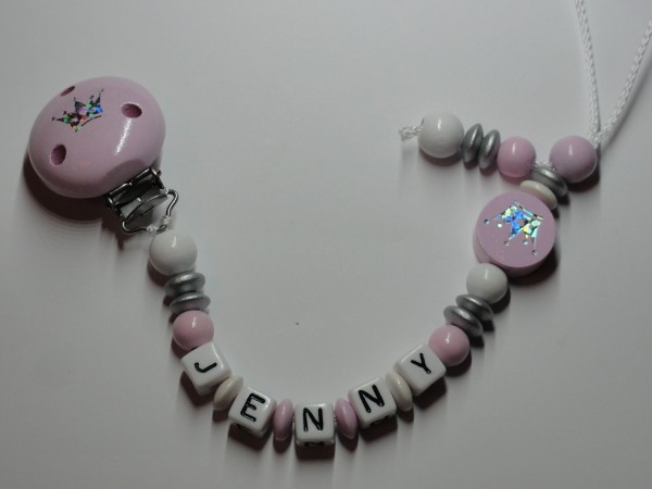 Baby Schnullerkette mit Namen - Krone in rosa