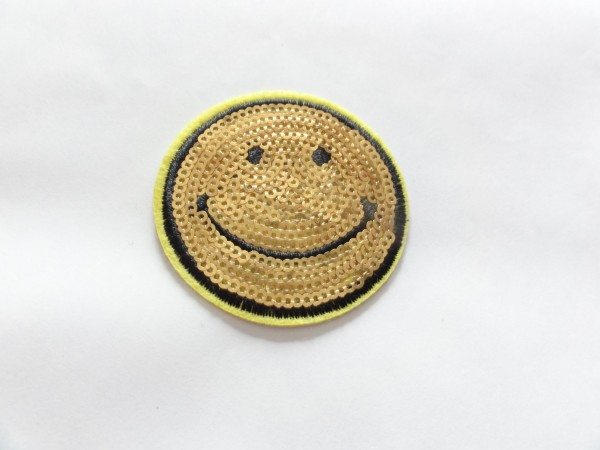 Applikation - Bügelbild - Aufnäher - Stickapplikation - Smily - gold