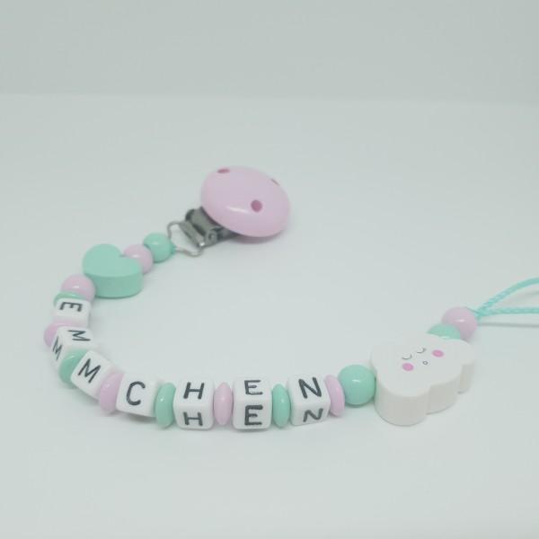 Schnullerkette mit Namen - Herz Wolke mint rosa