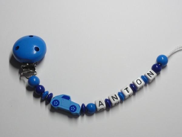 Baby Schnullerkette mit Namen - Auto in blau