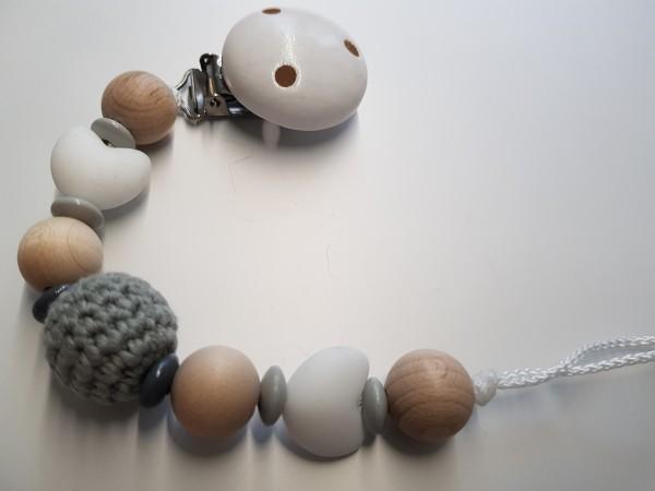 Baby Schnullerkette ohne Namen - Silikon Häkelperle in natur