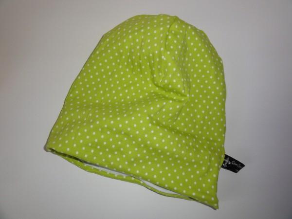 Beanie Mütze - Punkte in grün