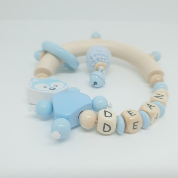 Baby Rassel Greifling mit Namen - Fuchs Häkelperle babyblau natur