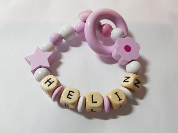 Baby Greifling mit Namen - Blume in rosa