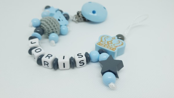 Baby Schnullerkette mit Namen - 3D Teddy in blau
