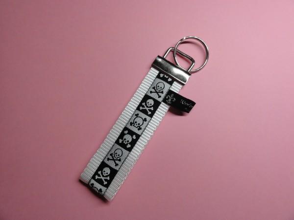 Schlüsselanhänger - Totenkopf in weiß