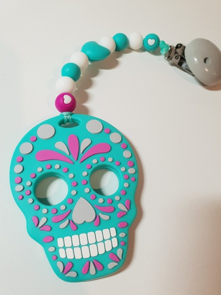 Baby Silikonbeißkette - Totenkopf Skull in helltürkis
