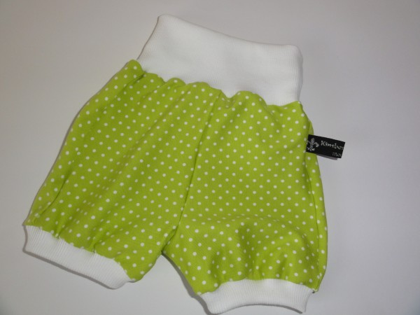 kurze Baby Pumphose - Punkte in grün