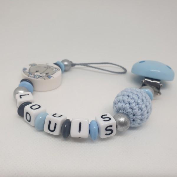 Baby Schnullerkette mit Namen - Für einen Augenblick Bär in blau grau silber