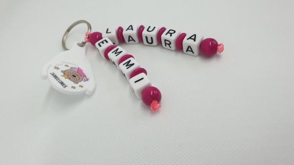 Schlüsselanhänger mit Namen - Schwesterherz in pink