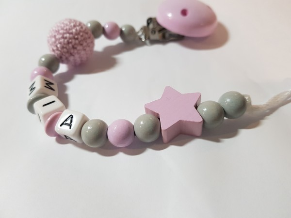 Baby Schnullerkette mit Namen - Häkelperle Stern in grau rosa