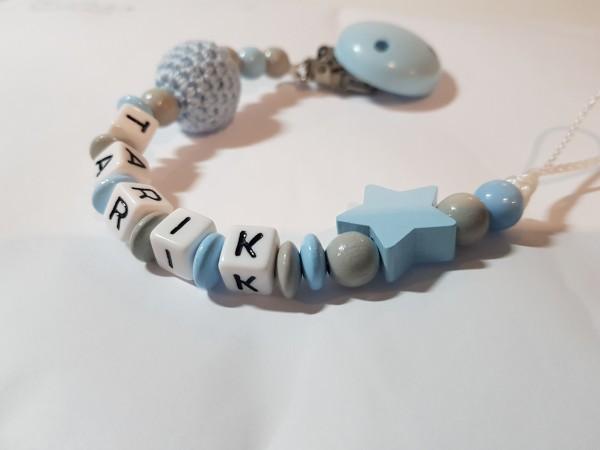 Baby Schnullerkette mit Namen - Häkelperle Stern in blau grau