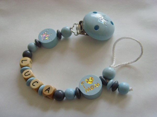Baby Schnullerkette mit Namen - I love Mom Krone in blau grau