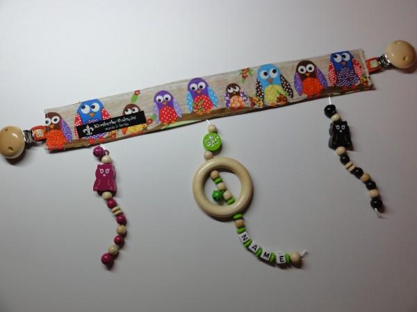 Kinderwagenkette mit Namen - Eulen in bunt