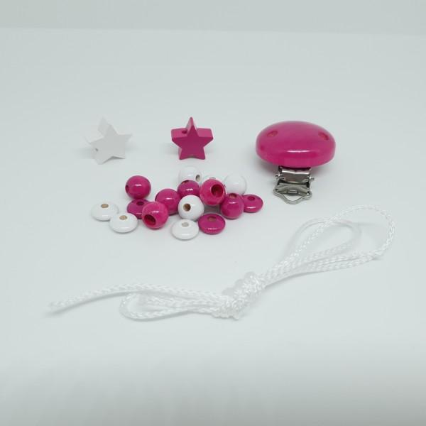 Bastelset - Schnullerkette Sterne pink weiß