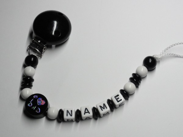 Baby Schnullerkette mit Namen - I love Mom in schwarz