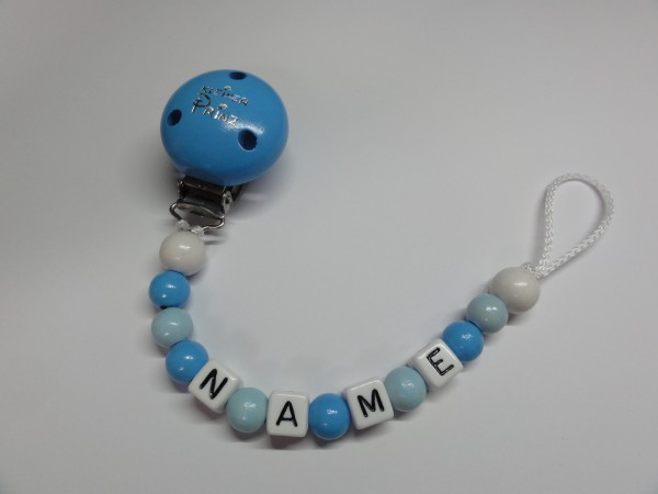 Baby Schnullerkette mit Namen - in blau