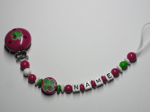 Baby Schnullerkette mit Namen - Kleeblatt in pink