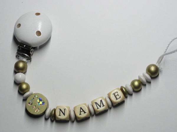 Baby Schnullerkette mit Namen - I love Mom in gold